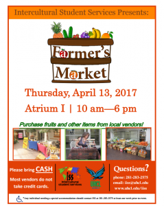 Info for April 13th Farmers Market at UHCL