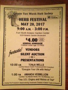 Fort Worth Herb Festival Flyer